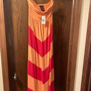 Design History Strapless Orange & Pink Maxi Dress